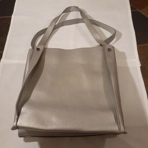 Neiman Marcus silver leather tote